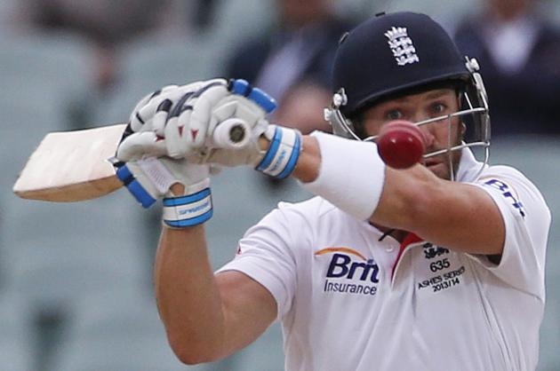England's Prior plays a shot during the fifth day's play in the second Ashes cricket test against Australia at the Adelaide Oval