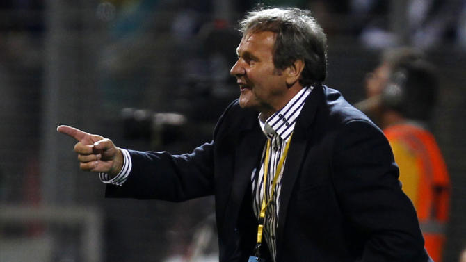 Slovakia's national soccer team coach Kozak reacts during their 2014 World Cup qualifying soccer match against Bosnia in Zenica