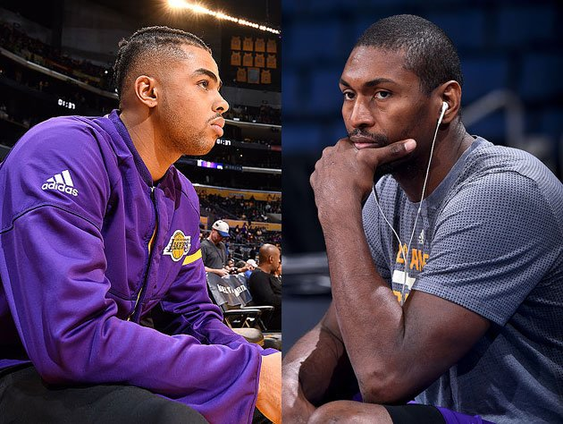 D'Angelo Russell and Metta World Peace consider vision boards. (Getty Images)
