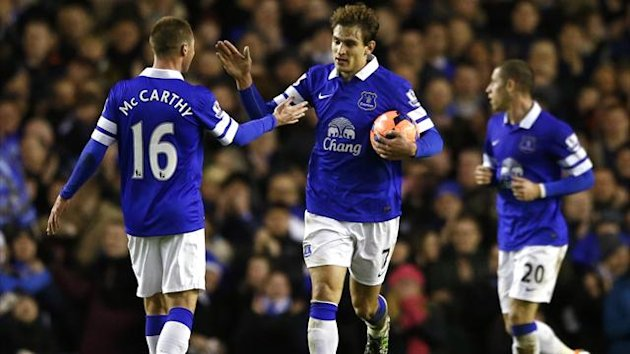 Everton's Nikica Jelavic (C) celebrates with team mate James McCarthy (L) after scoring a goal against Queens Park Rangers (Reuters)
