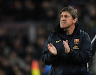 "Barcelona assistant manager Jordi Roura is pictured during their Spanish league match against Rayo Vallecano on March 17, 2013. ""(Lionel Messi and David Villa) complement each other and we are very happy that they understand each other so well,"" Roura said"
