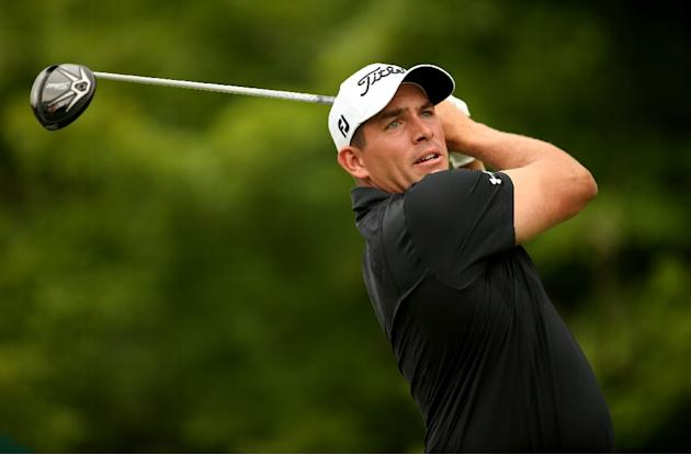 Scott Stallings tees off on the 17th hole during the first round of the Greenbrier Classic on July 2, 2015 in White Sulphur Springs, West Virginia