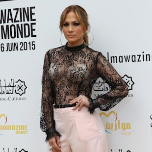 US performer Jennifer Lopez poses for photographers prior to a press conference, during the Mawazine Festival in Rabat, Morocco, Thursday May 28, 2015. Lopez will perform on stage at Morocco's biggest music festival on Friday. (AP Photo/Abdeljalil Bounhar)