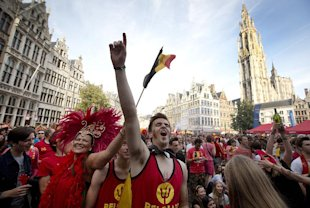 Belgian fans cheer after Belgium scored a goal during the 1-0 victory over Russia. (AP)
