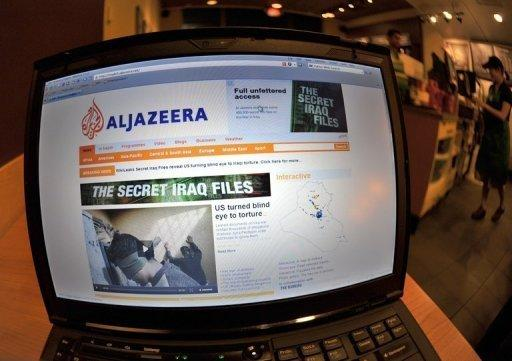 The Al-Jazeera website on a laptop at a cafe in Silver Spring, Maryland. Qatar-based Al-Jazeera news network's mobile service was hacked on Sunday, four days after a number of its Internet websites came under cyber attack, it reported on its website al-jazeera.net
