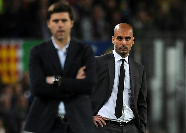 Barcelona's then head coach Pep Guardiola and Espanyol's then boss Mauricio Pochettino pictured during the Spanish league match at the Camp Nou stadium in Barcelona on May 5, 2012