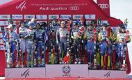 Alpine Skiing - FIS Alpine Skiing World Championships - Alpine Team Event - St. Moritz, Switzerland - 14/2/17 - (L to R) Slovakia's silver medalists, France's gold medalists and Sweden's bronze medalists pose for pictures during the flower ceremony after the final of the parallel slalom Mixed Team event. REUTERS/Denis Balibouse