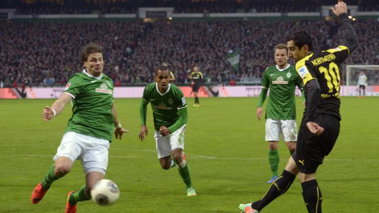 Borussia Dortmund's Mkhitaryan scores his second goal during the German Bundesliga first division soccer match against Werder Bremen in Bremen