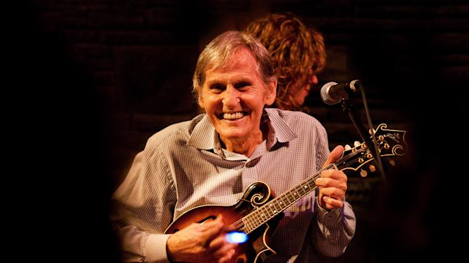 "In this May 15, 2010 photo, Levon Helm performs on the mandolin during a Ramble performance at Helm's barn in Woodstock, N.Y.  Helm, who was in the final stages of his battle with cancer, died Thursday, April 19, 2012 in New York.  He was 71.  He was a key member of The Band and lent his distinctive Southern voice to classics like ""The Weight"" and ""The Night They Drove Old Dixie Down.""  (AP Photo/Times Herald-Record,John DeSanto)"