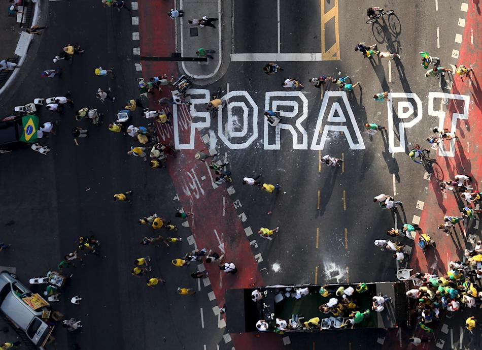 Demonstrators take part in a protest against President Dilma Rousseff in Sao Paulo