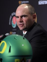 Dec 31, 2014; Los Angeles, CA, USA; Oregon Ducks coach Mark Helfrich at press conference at the L.A. Hotel Downtown in advance of the 2015 Rose Bowl. (Kirby Lee-USA TODAY Sports)