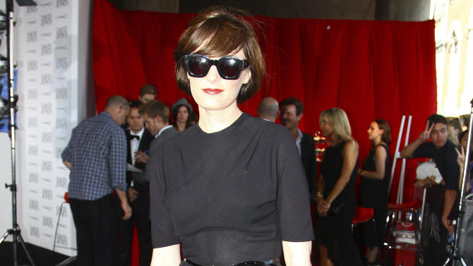 Sarah Blasko arrives for the Australian music industry Aria Awards in Sydney, Thursday, Nov. 29, 2012. (AP Photo/Rick Rycroft)
