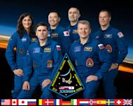 The International Space Station's Expedition 33 crew. From left: NASA astronaut Sunita Williams, Russian cosmonaut Yuri Malenchenko, Japannese astronaut Akihiko Hoshide, Russian cosmonauts Evgeny Tarelkin and Oleg Novitskiy and NASA astronaut K