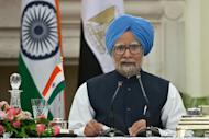 """Indian Prime Minister Manmohan Singh speaks in New Delhi on March 19, 2013. India's government is appealing to corporate leaders to """"keep the faith"""" as it struggles to revive a staggering economy, but the reply from business is they need more than talk to win back their support"""