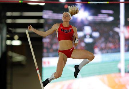 Morris of the U.S. competes in the women's pole vault event at the IAAF World Indoor Athletics Championships in Portland