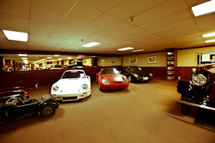 Porsche 959s literally line the walls.