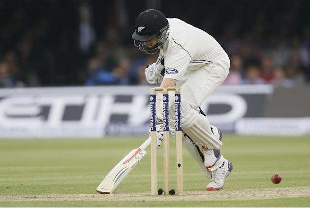 New Zealand's Kane Williamson just makes his ground during the third day of the first Test match between England and New Zealand at Lord's cricket ground in London, Saturday, May 23, 2015. (AP