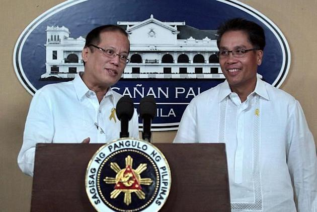 Friends ever since: 07 June 2011: President Benigno Simeon C. Aquino III with former senator Manuel Roxas III during the announcement of Roxas as the new secretary of the Department of Transportation and Communication (DOTC) held at the New Executive Building in Malacanang Palace in Manila. (GIL NARTEA, MPB, NPPA Images)