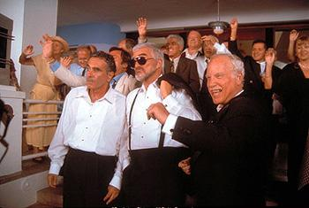 "Left to right: Former wise guys Mike ""The Brick"" Donatelli ( Dan Hedaya ), Joey ""Bats"" Pistella ( Burt Reynolds ), and Bobby Bartellemeo ( Richard Dreyfuss ) hatch a scheme to keep from being evicted from their South Beach, Miami, retirement residence hotel, in Touchstone Pictures' comedy The Crew"