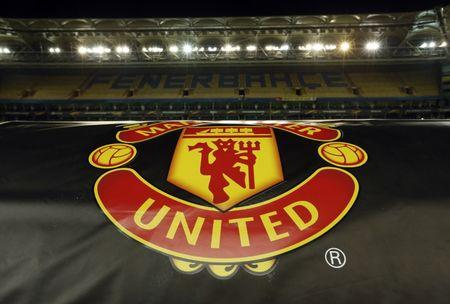 General view of the Manchester United emblem on display in the stadium after the press conference
