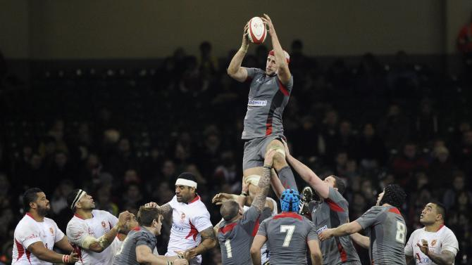 Wales' Luke Charteris retrieves the ball from a line-out against Tonga during their international rugby union match in Cardiff