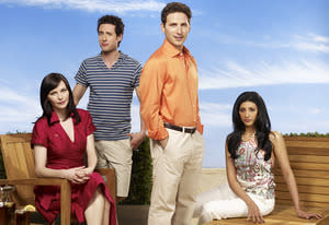 Jill Flint, Paulo Costanzo, Mark Feuerstein, Reshma Shetty   | Photo Credits: Justin Stephens/USA Network