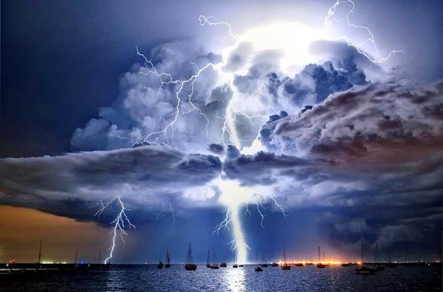Lightning illuminates a cumulonimbus cloud over Corio Bay, Victoria. This incredible set of photographs showed nature at its wildest and most beautiful. The Bureau of Meteorology and Australian Meteor