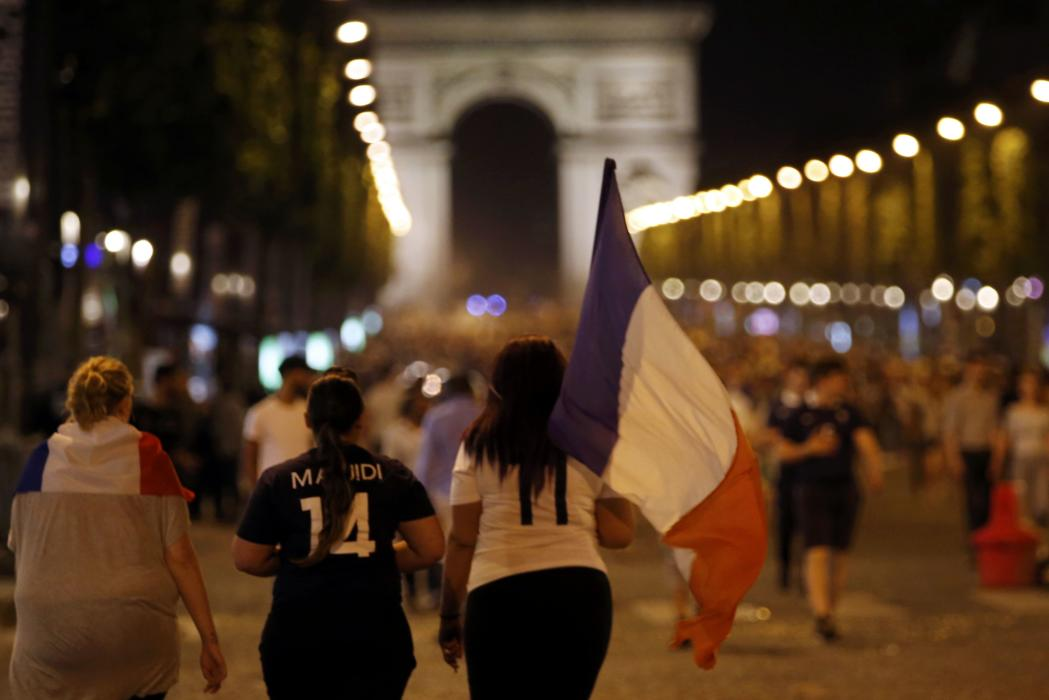 France fans celebrate after a EURO 2016 semi final soccer match