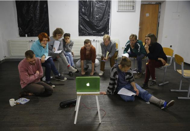 In this Tuesday, Oct. 6, 2015 photo actors of the Belarus Free Theater group rehearse in Minsk, Belarus. A crippled political opposition in Belarus has been cautious in their criticism leading up to t