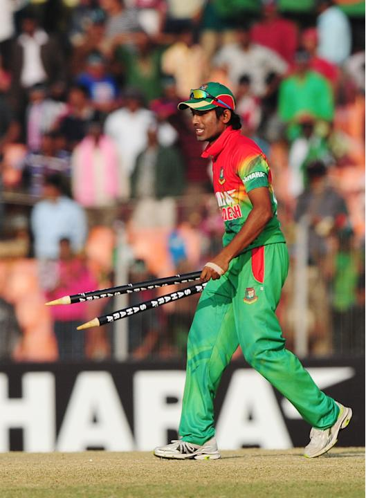 Bangladesh cricket player Anamul Haque reacts after winning the second one day international cricket match between Bangladesh and The West Indies at the Sheikh Abu Naser Stadium in Khulna on December
