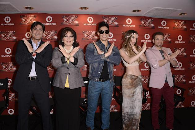 From left to right, Poncho De Anda, actress and singer Angelica Maria, singer Chino, singer Belinda, and singer Nacho attend the El Factor X Press Conference at The Sofitel in Los Angeles on Wednesday