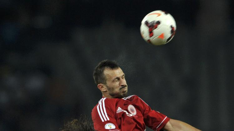 Krhin of Slovenia is challenged by Teli of Albania during their 2014 World Cup qualifying soccer match in Ljubliana