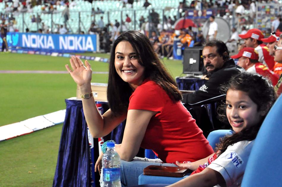 KXIP team owner and Bollywood actress Preity Zinta during the match between Kolkata Knight Riders and Kings XI Punjab at Eden Gardens in Kolkata on April 26, 2013. (Photo: IANS)