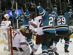Sharks beat Coyotes 3-2 in shootout