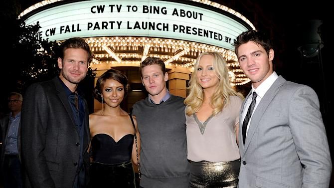 """Matt Davis, Kat Graham, Zach Roerig, Candice Accola, and Steven R. McQueen of """"The Vampire Diaries"""" attend The CW Fall Premiere party presented by Bing at Warner Bros. Studios on September 10, 2011 in Burbank, California."""