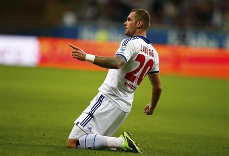 HSV Hamburg's Lasogga celebrates his goal against Eintracht Frankfurt in their Bundesliga soccer match in Frankfurt