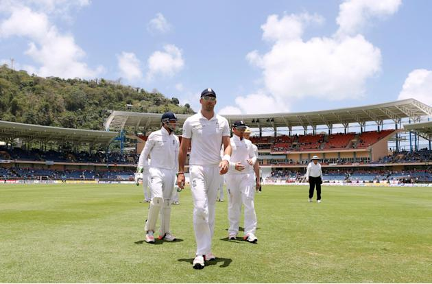 Cricket: England's James Anderson walks off at lunch