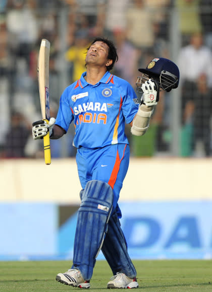 Indian batsman Sachin Tendulkar reacts a