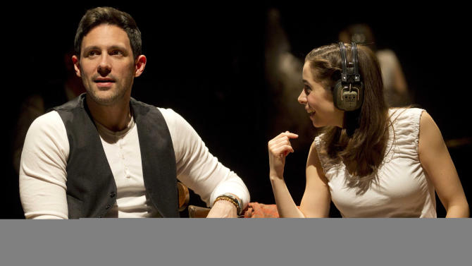 "In this theater image released by Boneau/Bryan-Brown, Steve Kazee, left, and Cristin Milioti are shown in a scene from ""Once,"" in New York. Producers of the hit show said Monday that Tony Award winner Steve Kazee and Tony nominated Cristin Milioti will leave the show after Sunday's performance.That date will also mark the end of the run for original cast members Will Connolly and Elizabeth A. Davis, who earned a Tony nomination as a supporting actress.  (AP Photo/Boneau/Bryan-Brown, Joan Marcus)"
