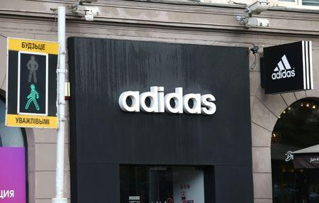 Logo of Adidas company is seen on a building in Minsk