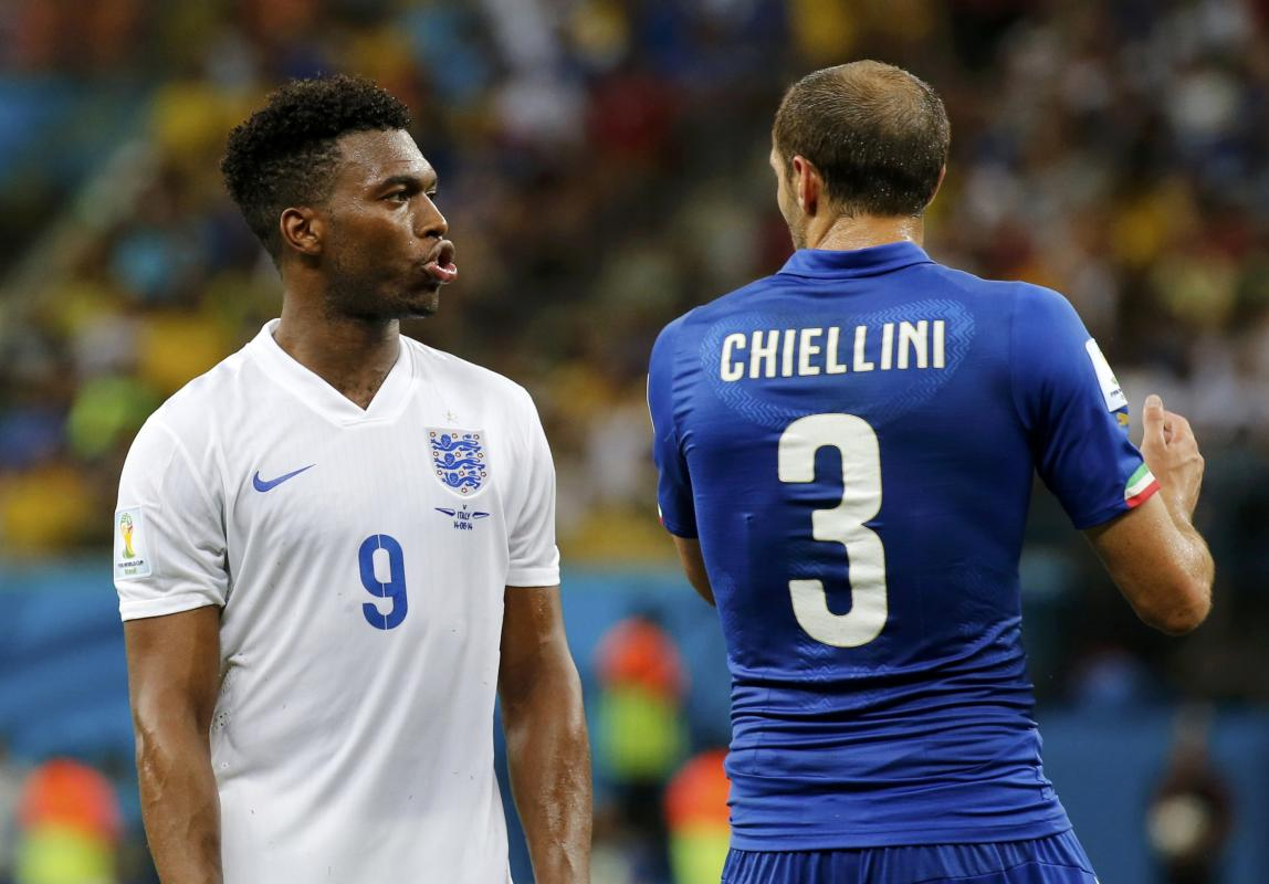 England's Daniel Sturridge and Italy's Giorgio Chiellini are pictured during their 2014 World Cup Group D soccer match at the Amazonia arena...