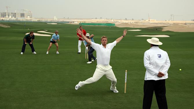 DUBAI, UNITED ARAB EMIRATES - JANUARY 28:  Andrew Flintoff of England on his return to cricket appeals loudly as he traps golfer Ernie Els of South Africa LBW, Flintoff is assisted in the field by sporting legends Jon Smit Captain of the South Africa Rugby team (far left), Martina Navratilova of the USA the tennis player, and Peter Schmeichel of Denmark the goalkeeperduring the opening day of the Els Course at Dubai Sports City, on January 28, 2007 in Dubai, United Arab Emirates.  (Photo by David Cannon/Getty Images)