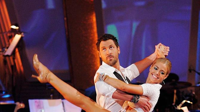 """Denise Richards and Maksim Chmerkovskiy perform the Quickstep to """"We Go Together"""" from the Grease soundtrack on """"Dancing with the Stars."""""""