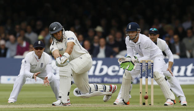New Zealand's Ross Taylor plays a shot off the bowling of England's Moeen Ali during play on the second day of the first Test match at Lord's cricket ground in London, Friday, May 22, 2015