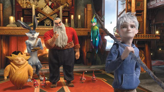 "This film image released by Paramount Pictures shows a scene from the film ""Rise of the Guardians,"" an adventure with Santa Claus, the Easter Bunny and other mythical beings battling an evil spirit. (AP Photo/Paramount Pictures, DreamWorks Animation )"
