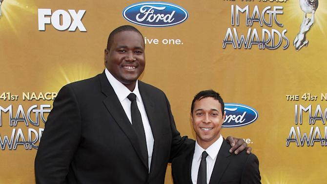 Quinton Aaron and brother arrive at The 41st NAACP Image Awards at The Shrine Auditorium on February 26, 2010 in Los Angeles, California.