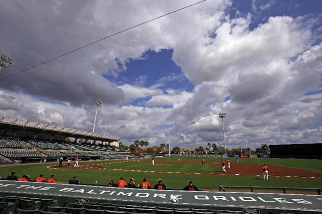 The Baltimore Orioles play an intra-squad spring training baseball game at Ed Smith Stadium in Sarasota, Fla., Sunday, March 1, 2015. Grapefruit League action starts Tuesday, March 3, when the Orioles