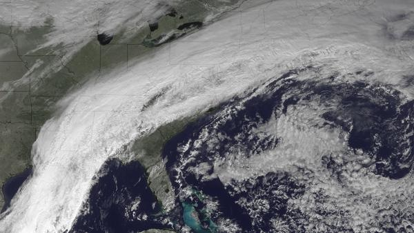 The GOES satellite captured the stalled cold front causing wintry weather in the Eastern United States.