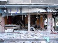 """A handout image released by the Syrian opposition Shaam News Network shows a shop destroyed during a Syrian government offensive in the city of Duma. French Foreign Minister Alain Juppe on Wednesday labelled the UN-backed peace plan for Syria """"seriously compromised"""" and held out the threat of seeking military action to end the year-long crackdown"""