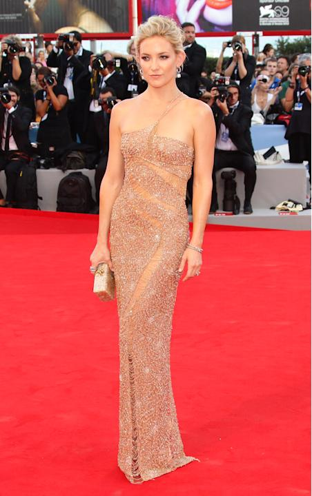 """Kate Hudson dazzled at the Venice Film Festival on August 29. The star attended the premiere of her new film, """"The Reluctant Fundamentalist,"""" wearing  a one-strap, body-slimming nude gown by Atelier V"""